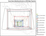 Texas Ozone Modeling Domains on RPO Map Projection