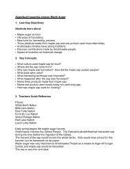 Maple Sugaring / Sugarbush Lesson Plan