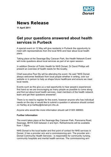 Purbeck event 12 May 2011.pdf - NHS Dorset