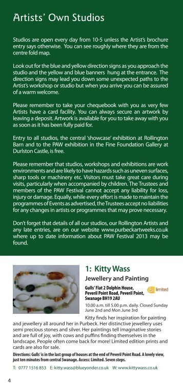 to download the PDF - Purbeck Art Weeks