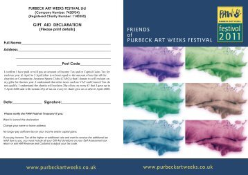 to download the form - Purbeck Art Weeks