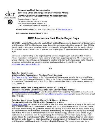 DCR Announces Park Maple Sugar Days - Mass.Gov