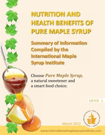 NUTRITION AND HEALTH BENEFITS OF PURE MAPLE SYRUP