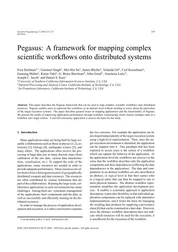 Pegasus: A framework for mapping complex scientific workflows ...