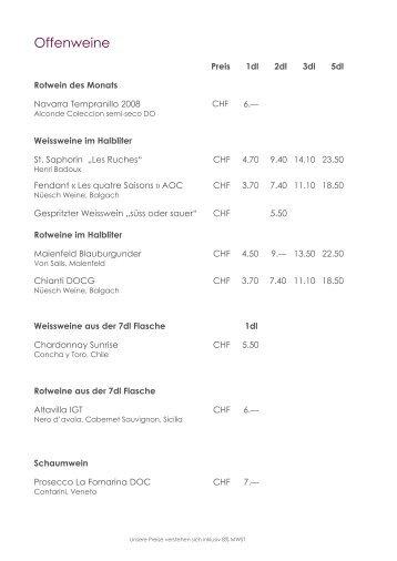 Offenweine - Restaurant Paradies
