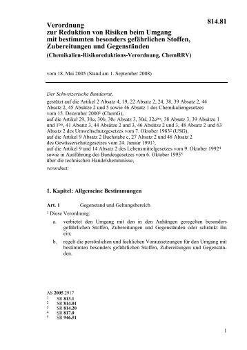 Chemikalien Risikoreduktions-Verordnung (ChemRRV), 620 kB
