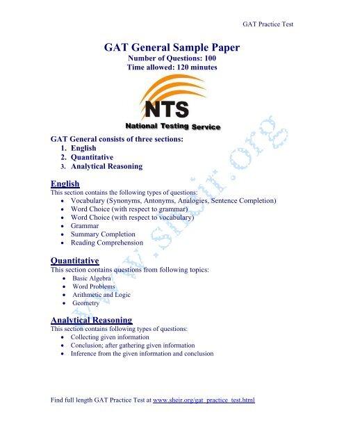 GAT General Sample Paper