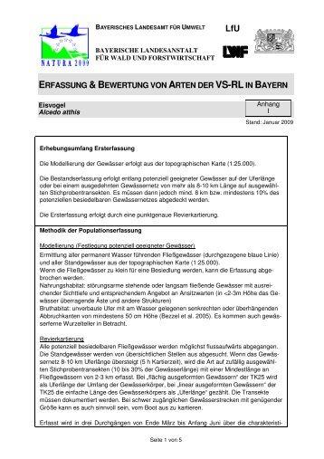 ERFASSUNG &BEWERTUNG VON ARTEN DER VS-RLIN BAYERN