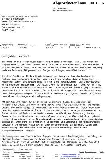 Abgeordnetenhaus BE RLIN - Berliner Buergerverein in der ...