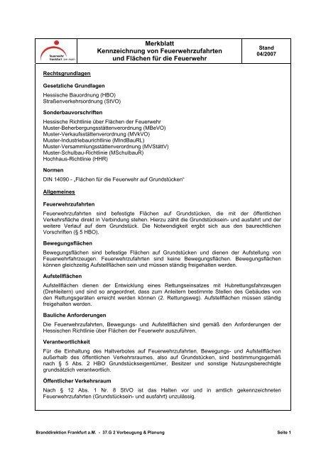 Merkblatt Kennzeichnung Von Feuerwehrzufahrten Und Flächen Für Die