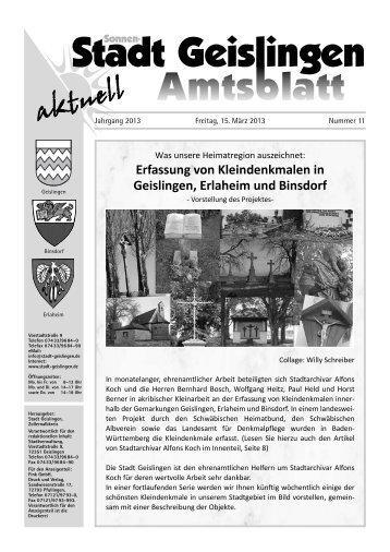 Amtsblatt Geislingen KW11 - Stadt Geislingen