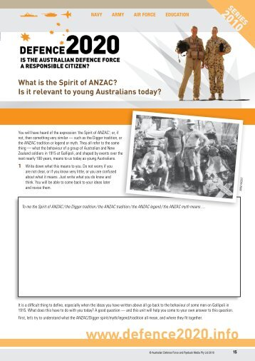 What is the Spirit of ANZAC? Is it relevant to ... - DEFENCE 2020