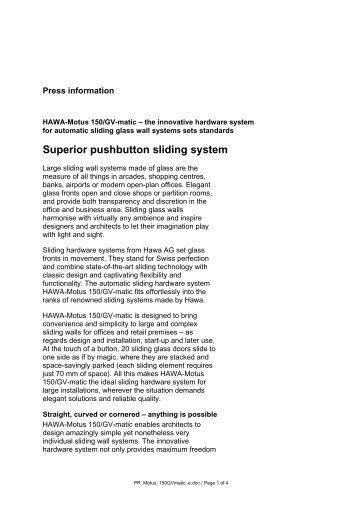 Superior pushbutton sliding system - hawa.ch