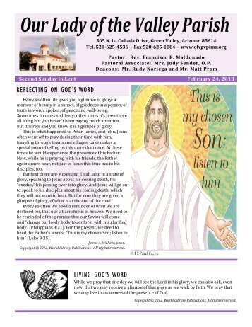 February 24, 2013 - Our Lady of the Valley