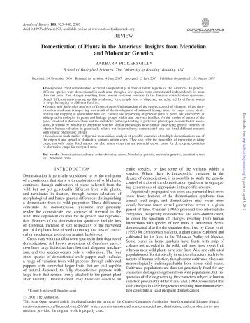 Domestication of Plants in the Americas: Insights from Mendelian ...