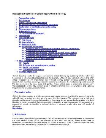 Manuscript Submission Guidelines - Sage