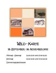 WILD - KARTE - Restaurant Gotthard | Goldau