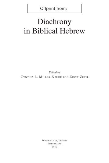 Diachrony in Biblical Hebrew - Computing in the Humanities and ...