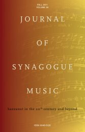 Journal of Synagogue Music, Fall - Cantors Assembly