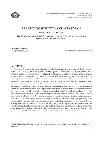 PRACTICING IDENTITY: A CRAFTY IDEAL?