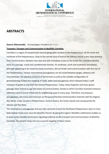 ABSTRACTS - The American School of Classical Studies at Athens