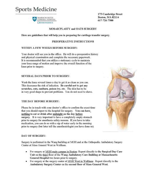 Mosaicplasty and OATS Knee Surgery Protocol - Massachusetts