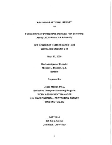 Revised Draft Final Report on Fathead Minnow (Pimephales - US ...