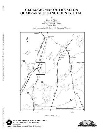 geologic map of the alton quadrangle, kane county, utah
