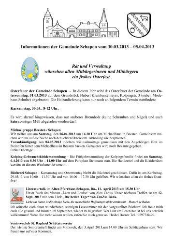 Informationen der Gemeinde Schapen vom 30.03.2013 – 05.04 ...