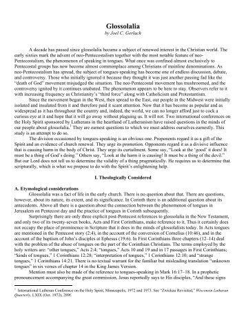 lord of the sabbath   wisconsin lutheran seminary library  essaysglossolalia   wisconsin lutheran seminary library  essays