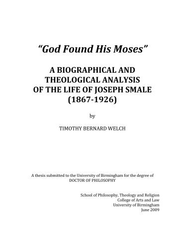 God found his Moses - eTheses Repository - University of Birmingham