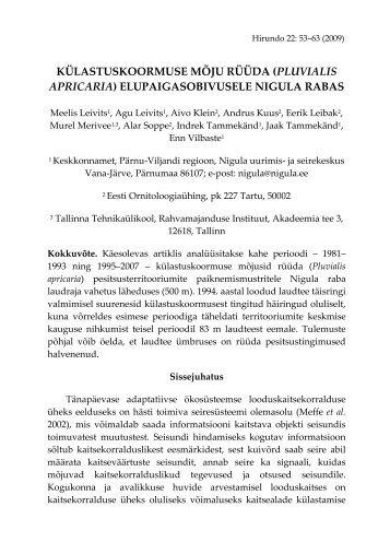 külastuskoormuse mõju rüüda (pluvialis apricaria) - Eesti ...