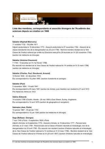 S - Liste des membres et associés étrangers de l'Académie des ...