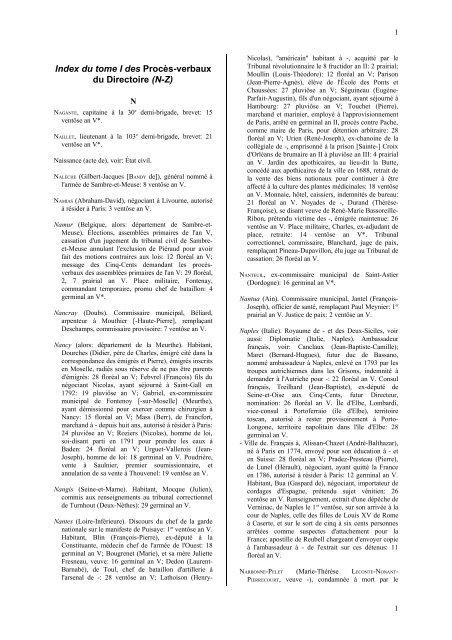 Index An V 1 N à Z Archives Nationales