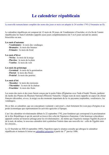 Le Calendrier Revolutionnaire.Le Calendrier Republicain