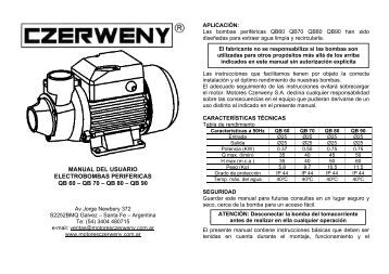Manual bombas QB - Motores Czerweny SA