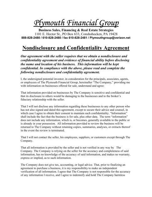 Non Disclosure Agreement Nda Plymouth Financial Group