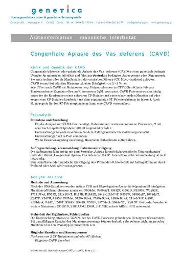 Männliche Infertilität CAVD - Genetica AG