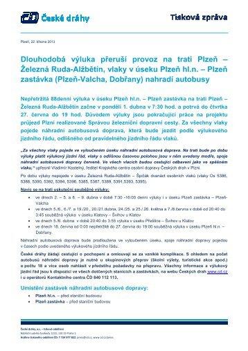 Dlouhodobá výluka přeruší provoz na trati Plzeň ... - Vlaky.NET