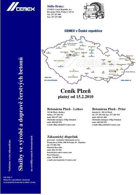 Ceník Plzeň Služby ve výrob ě a doprav ě č erstvých beton ů - Cemex