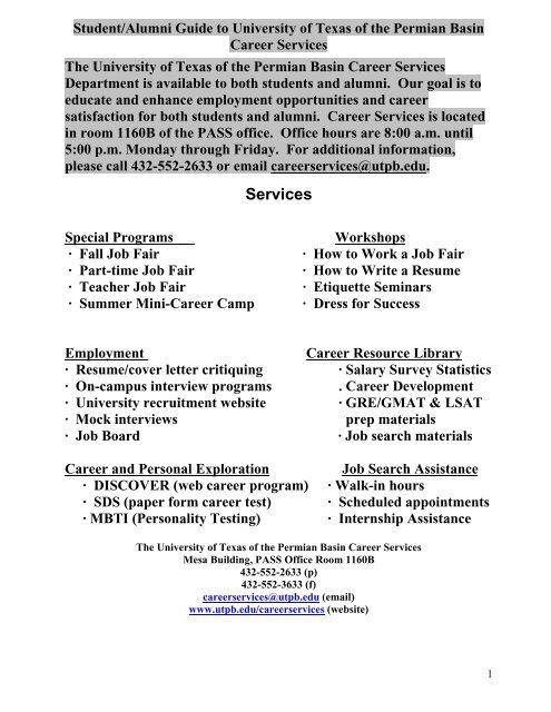 Career Services Guide Pdf Format Utpb Student Services The