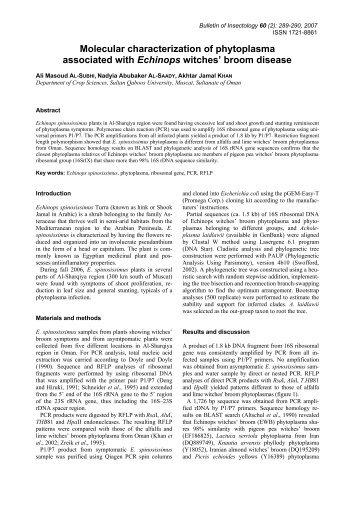 Molecular characterization of phytoplasma associated with Echinops ...