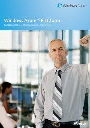 Windows Azure™-Plattform - Microsoft Deutschland GmbH