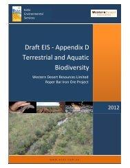 Appendix D Terrestrial and Aquatic Biodiversity - Environment ...