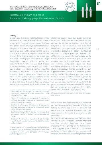Interface os-implant en zircone : évaluation ... - Dentalbio.eu