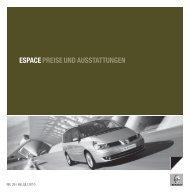 ESPACE PREISE UND AUSSTATTUNGEN - Garage Sigrist AG