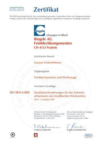 ISO 3834-2:2005 - Ringele AG