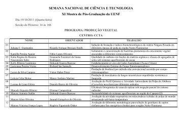 SEMANA NACIONAL DE CIÊNCIA E TECNOLOGIA XI Mostra ... - Uenf