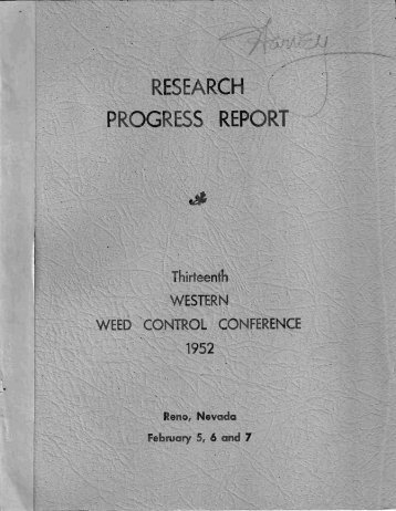 1952 - Western Society of Weed Science