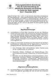 Ordnungsbehördliche Verordnung über die ... - Lippstadt